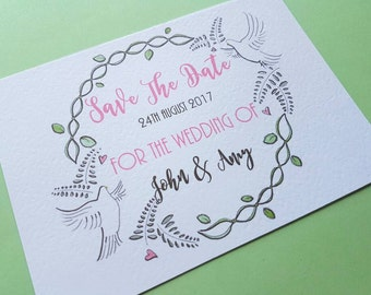 Set of 20 Save The Date Cards A6 Dove and Floral Design