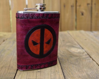 Leather Wrapped Flask - Deadpool