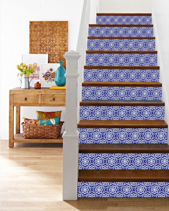 Escalier bleu autocollants muraux traditionnel lot de 24 - Carreaux autocollants cuisine ...