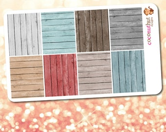 Wood Pattern Full Box Planner Stickers