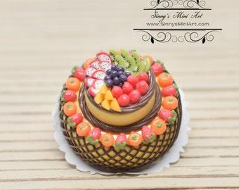25% OFF 1:12 Dollhouse Miniature Big three layers Chocolate Fruit Cake/ Dollhouse miniature cake/ Miniature food K1995