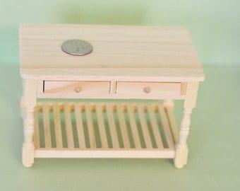 1:12 Dollhouse Miniature unpainted table/ Dollhouse miniatures/ miniature furniture
