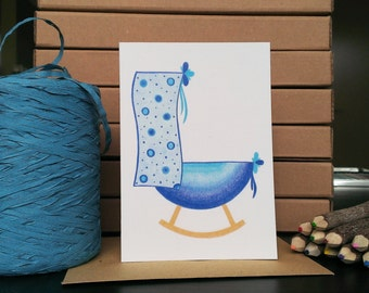 Card Blue Bassinet - A6 Greeting Card with Envelope - Blank Card - Birth Boy - Card Recycled Paper.