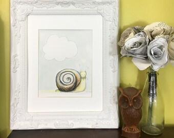 Snail * Original* watercolor woodland snail nursery print