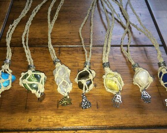 Macrame hemp crystal necklaces for interchangeable stones