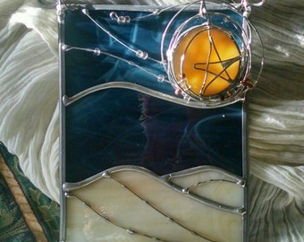 Star of Wonder Stained Glass Hanging Panel