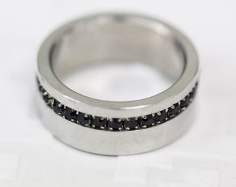 Size: O (US Size 7) Stainless Steel Band Ring With Black Cubic Zirconia, Men's Steel Band, Gent's Steel Band,  CZ Dress Ring