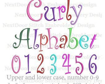 Curly font embroidery design, script Alphabet  set,   BX files included ,  font-029b