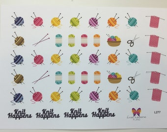Knitting Planner Stickers |  | ALL PLANNERS stickers  | Yarn Sale L277