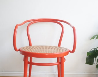 Vintage 50's rare red bentwood Ligna chair made in Czechoslovakia design attributed to Thonet 209 le Corbusier chair