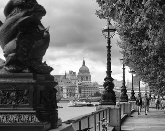 South Bank - Black and White - River Thames - St Paul's Cathedral - London - England - UK - Photo - Print
