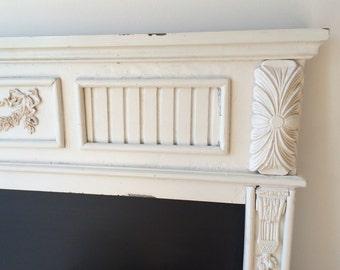 SOLD Chalkboard large white ornate vintage frame