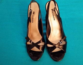 Nygard Women's Black Patent Pump Slingback Sandals Size 8.5