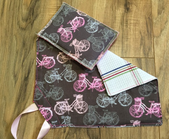Wash cloth and sponge set pink and grey bicycle by for Spong kitchen set 702