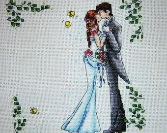 Cross Stitch, couple, bride and groom, wedding, wedding metric