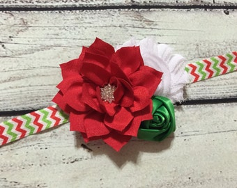 Christmas Baby Headband ,Christmas Headband ,Red White and Green Flower Headband ,Holiday Headband ,Baby Headband ,Flower Baby Headband