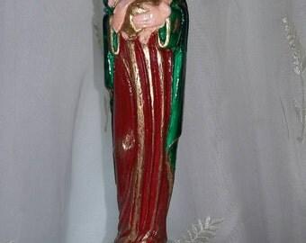 Handpainted Virgin Mary Madonna and Child Chalkware Figurine