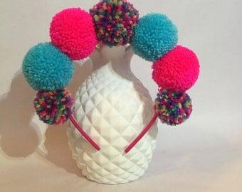 Unicorn pink & blue pom pom headband