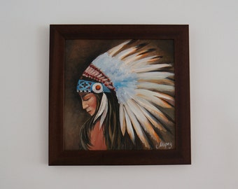 "Oil painting ""Squaw"", framed, ready to hang"