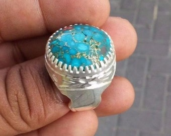 Heavy Silver Rare Turquoise Stone Ring