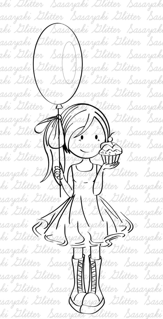 Happy Birthday Mia Sasayaki Glitter Digital Stamps, Black and White Only