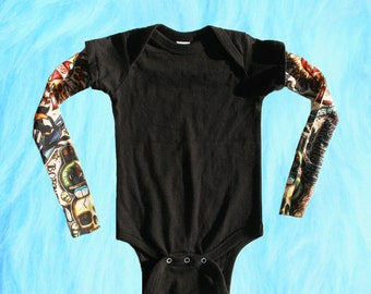 Baby Tattoo Sleeves, Tattoo Sleeve Shirt, Rockabilly Punk Hipster Baby Boy or Girl Clothes, Baby Boy Outfit, Tattoo Sleeve Bodysuit, Tattoos