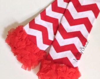 Red Chevron Leg warmers - Girls