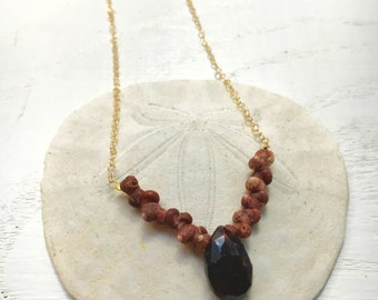Gold Garnet and Kahelelani Shell Necklace