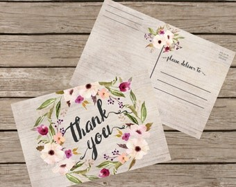 Thank You Postcard. Thank you Card Printable, Floral Thank You Postcard 4x6, Digital Postcard, Instant Download