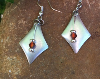 Silver and red crystal drop earrings
