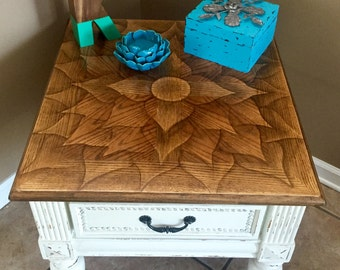 SOLD- example only. Original art, stain-shaded end table