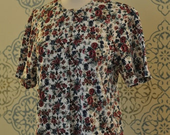 90s cotton floral button up short sleeve top