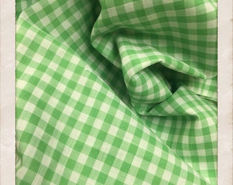 Vintage Gingham Fabric Green. FQ. Light Green Fabric Gingham. Pastel Green Fabric Gingham. Vintage Green Fabric