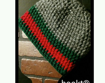 Crochet beanie grey red and green