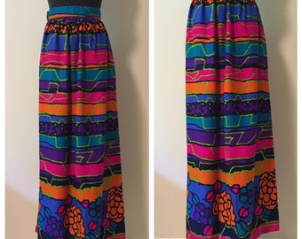 1970s Vintage Neon Wrap Skirt
