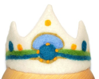 Birthday Crown Boy, Crown of felt, Birthday Crown, Boys Crown, Boy Party Crown, Waldorf, jumatamade, Crown in handmade, Blue Green Crown