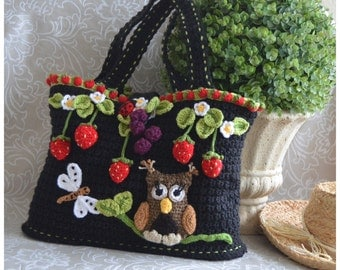 Whimsical Strawberry Tote Bag with Owl - Basket