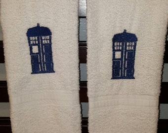 Dr. Who Tardis embroidered hand towels