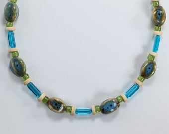 Porcelain and Glass Necklace, Green and Blue Necklace