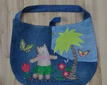 UniCat Bag - recycled denim, handpainted denim, cat purse