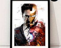 Iron Man Art Print, Marvel Superhero Inspired, Poster, Avengers Art, Captain America Civil War, Tony Stark Print, Ironman