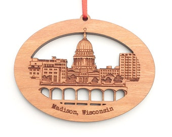 Madison Wisconsin Ornament - Capitol City Skyline and Monona Terrace Lake View