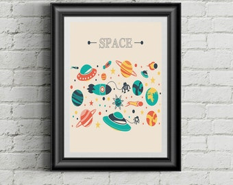 Retro Space Objects Prints,Space Posters,Fine Art Painting,Retro Prints,Home Decor,Wall Art,Vintage Prints