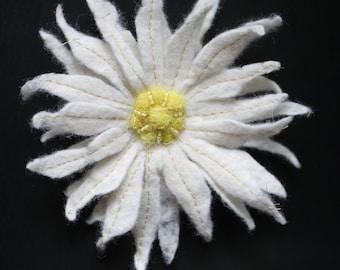 White Chrysanthemum Felted Flower Brooch