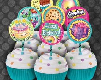 SHOPKINS Inspired Birthday Party Cupcake Circles/Toppers / Instant Download  / Digital File