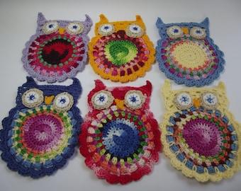 Crochet Owl Shaped Coasters