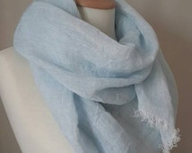Pure Linen scarf - Skyblue scarf - Linen shawl - Woman spring scarf - Summer scarf
