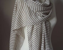 Knitted Linen scarf - Striped Linen scarf - Woman spring scarf - White and grey striped - Organic flax  scarf - Summer Wrap - Linen shawl