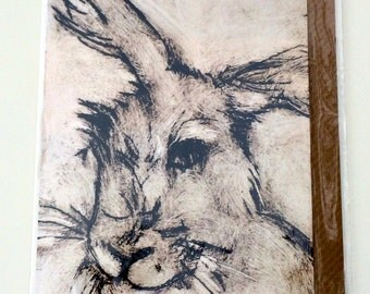 Beautiful hare greetings card taken from an original drypoint print