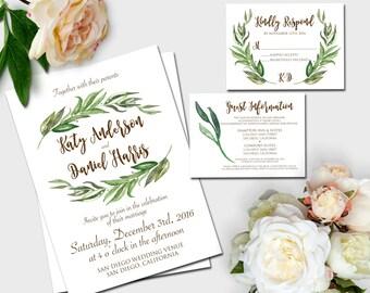 Watercolor Laurel Wreath WEDDING INVITATION SET | Boho Wedding Invitation Set
